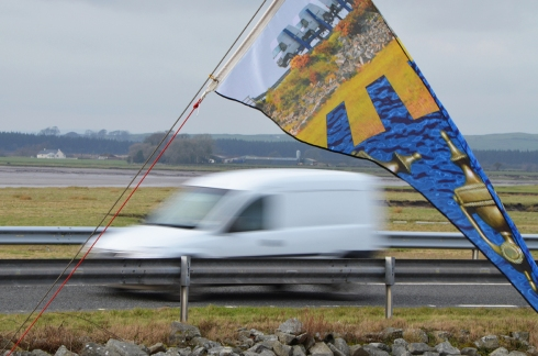 Lisa Gallacher's flags form part of the Creetown Ferry Bell alongside the A75 on the edge of the village