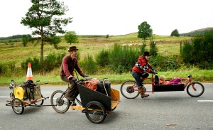 These were of course, no ordinary bikes - with the pedal powered foundry in one, and Uunti and Arnii in the other - they headed across the Galloway Forest Park.